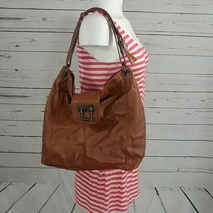 Faux leather slouchy zippered hobo handbag tote